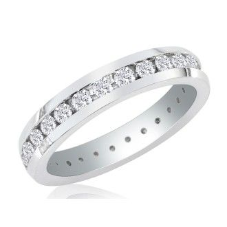 Platinum 4ct Channel Set Round Diamond Eternity Band, H-I | SI2-I1, 4-9.5