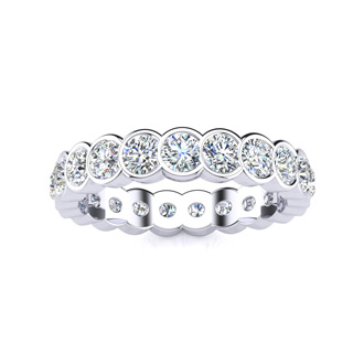 14 Karat White Gold 1 Carat Bezel Set Diamond Eternity Band, G-H SI1-SI2, Ring Sizes 4 to 9 1/2