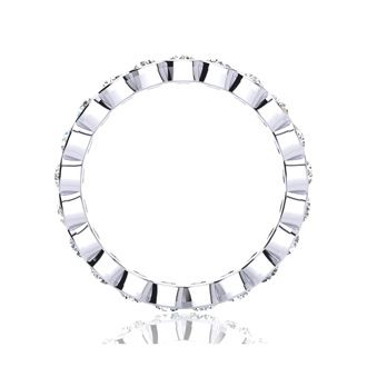 1ct Overlapping Bezel Diamond Eternity Band in 18k WG, H-I | SI1-SI2, 4-9.5