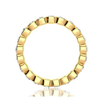 18 Karat Yellow Gold 1 Carat Bezel Set Diamond Eternity Band, G-H SI1-SI2, Ring Sizes 4 to 9 1/2