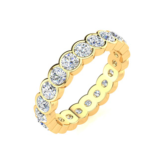 1ct Overlapping Bezel Diamond Eternity Band in 14k YG, H-I | SI2-I1, 4-9.5