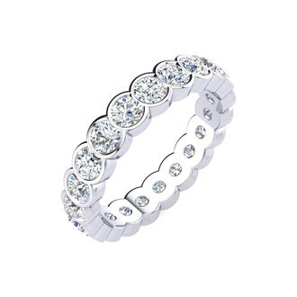 1ct Overlapping Bezel Diamond Eternity Band in 18k WG, H-I | SI2-I1, 4-9.5