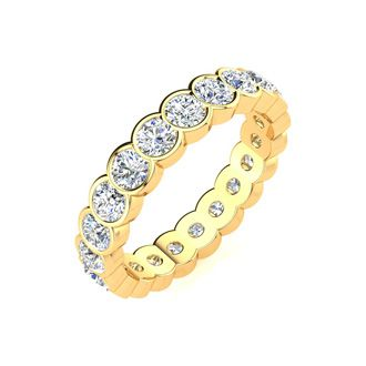 1ct Overlapping Bezel Diamond Eternity Band in 18k YG, H-I | SI2-I1, 4-9.5