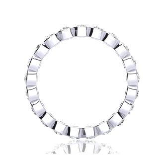 14 Karat White Gold 1 Carat Bezel Set Diamond Eternity Band, I-J I1-I2, Ring Sizes 4 to 9 1/2
