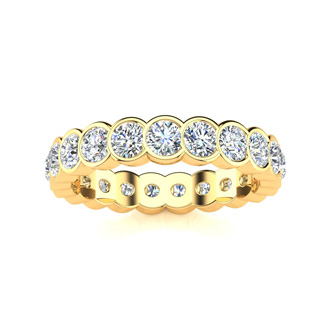 14 Karat Yellow Gold 1 Carat Bezel Set Diamond Eternity Band, I-J I1-I2, Ring Sizes 4 to 9 1/2