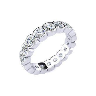 Platinum 2 Carat Bezel Set Diamond Eternity Band, G-H SI1-SI2, Ring Sizes 4 to 9 1/2
