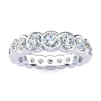 14 Karat White Gold 2 Carat Bezel Set Diamond Eternity Band, G-H SI3, Ring Sizes 4 to 9 1/2