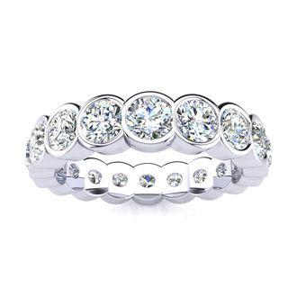 14 Karat White Gold 2 Carat Bezel Set Diamond Eternity Band, I-J I1-I2, Ring Sizes 4 to 9 1/2