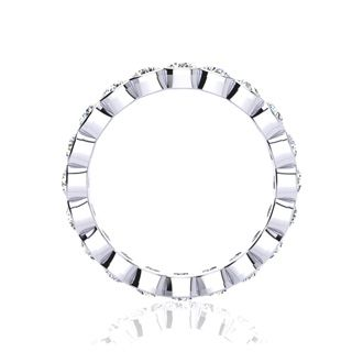 14 Karat White Gold 3 Carat Bezel Set Diamond Eternity Band, G-H SI1-SI2, Ring Sizes 4 to 9 1/2