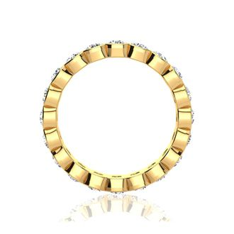14 Karat Yellow Gold 3 Carat Bezel Set Diamond Eternity Band, G-H SI1-SI2, Ring Sizes 4 to 9 1/2