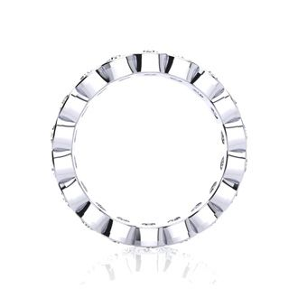 18 Karat White Gold 3 Carat Bezel Set Diamond Eternity Band, G-H SI1-SI2, Ring Sizes 4 to 9 1/2