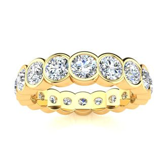 3ct Overlapping Bezel Diamond Eternity Band in 18k YG, H-I | SI2-I1 3-9.5