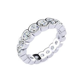 18 Karat White Gold 3 Carat Bezel Set Diamond Eternity Band, G-H SI3, Ring Sizes 4 to 9 1/2