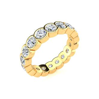 18 Karat Yellow Gold 3 Carat Bezel Set Diamond Eternity Band, G-H SI3, Ring Sizes 4 to 9 1/2