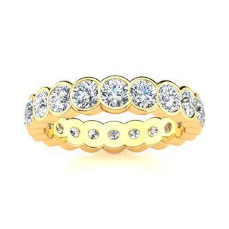 14 Karat Yellow Gold 3 Carat Bezel Set Diamond Eternity Band, I-J I1-I2, Ring Sizes 4 to 9 1/2