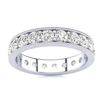 1ct Milgrain Prong Channel Eternity Band in 18k WG, H-I | SI1-SI2, 4-9.5