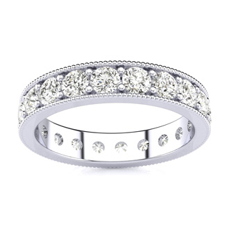 Platinum 1ct Milgrain Prong Channel Eternity Band, H-I | SI1-SI2, 4-9.5