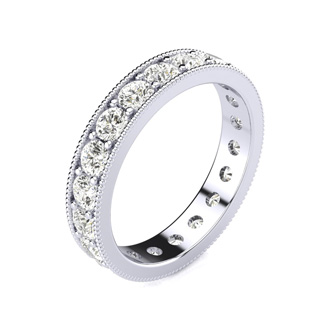 Platinum 1 Carat Milgrain Diamond Eternity Band, G-H SI1-SI2, Ring Sizes 4 to 9 1/2