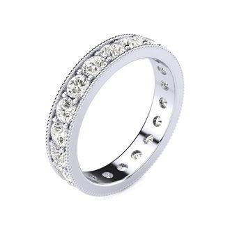 18 Karat White Gold 1 Carat Milgrain Diamond Eternity Band, G-H SI3, Ring Sizes 4 to 9 1/2