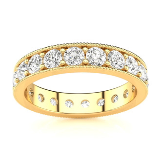 14k 1ct Milgrain Prong Channel Eternity Band, Ring Sizes 4 to 9 1/2