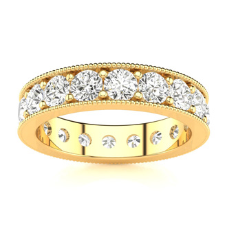 2ct Milgrain Prong Channel Eternity Band in 14k YG, H-I | SI1-SI2, 3-9.5