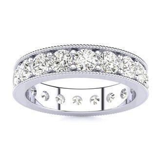 18 Karat White Gold 2 Carat Milgrain Diamond Eternity Band, G-H SI1-SI2, Ring Sizes 4 to 9 1/2
