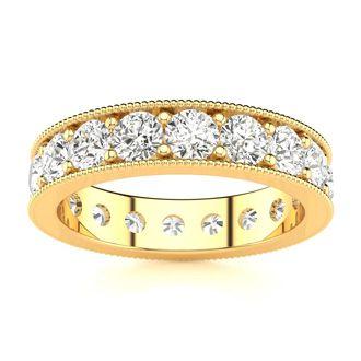 18 Karat Yellow Gold 2 Carat Milgrain Diamond Eternity Band, G-H SI1-SI2, Ring Sizes 4 to 9 1/2