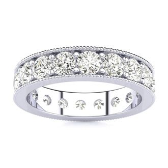 Platinum 2 Carat Milgrain Diamond Eternity Band, G-H SI1-SI2, Ring Sizes 4 to 9 1/2