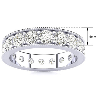 1 3/4 Carat Round Diamond Milgrain Eternity Ring In 14 Karat White Gold, Ring Size 4.5