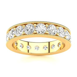 18 Karat Yellow Gold 2 Carat Milgrain Diamond Eternity Band, G-H SI3, Ring Sizes 4 to 9 1/2