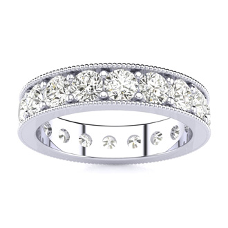 14k 2ct Milgrain Prong Channel Eternity Band, Ring Sizes 3 to 9 1/2