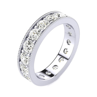 1 3/4 Carat Round Diamond Milgrain Eternity Ring In 14 Karat White Gold, Ring Size 4