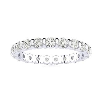 1ct Rounded Bar Set Diamond Eternity Band in 18k WG, H-I | SI1-SI2, 4-9.5