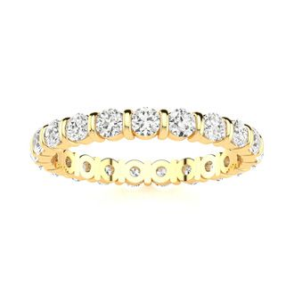 18 Karat Yellow Gold 1 Carat Bar Set Diamond Eternity Band, G-H SI1-SI2, Ring Sizes 4 to 9 1/2