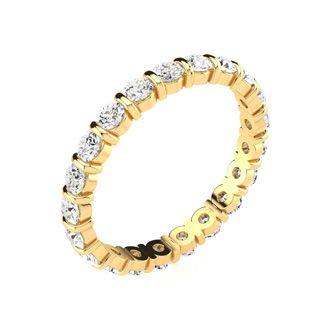 18 Karat Yellow Gold 1 Carat Bar Set Diamond Eternity Band, G-H SI3, Ring Sizes 4 to 9 1/2