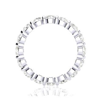 2ct Rounded Bar Set Diamond Eternity Band in 18k WG, H-I | SI1-SI2, 4-9.5
