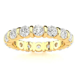14 Karat Yellow Gold 2 Carat Bar Set Diamond Eternity Band, G-H SI3, Ring Sizes 4 to 9 1/2