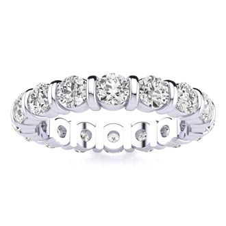 2ct Rounded Bar Set Diamond Eternity Band in 18k WG, H-I | SI2-I1, 4-9.5