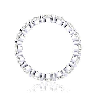 2ct Rounded Bar Set Diamond Eternity Band in 18k WG, H-I | SI2-I1, 4-9.5