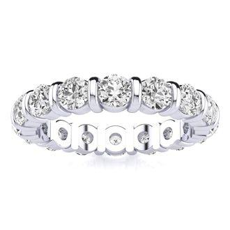 14k 2ct Rounded Bar Set Diamond Eternity Band, Ring Sizes 4 to 9 1/2