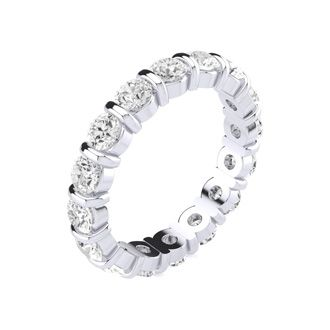 14 Karat White Gold 2 Carat Bar Set Diamond Eternity Band, I-J I1-I2, Ring Sizes 4 to 9 1/2
