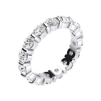 3ct Rounded Bar Set Diamond Eternity Band in 14k WG, H-I | SI1-SI2, 4-9.5