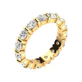 14 Karat Yellow Gold 3 Carat Bar Set Diamond Eternity Band, G-H SI1-SI2, Ring Sizes 4 to 9 1/2