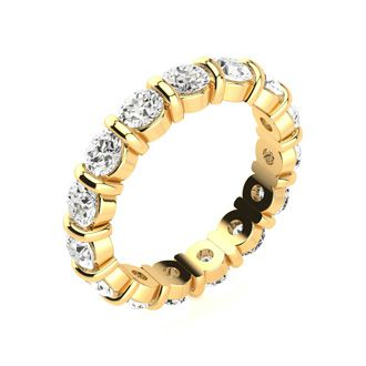 18 Karat Yellow Gold 3 Carat Bar Set Diamond Eternity Band, G-H SI1-SI2, Ring Sizes 4 to 9 1/2