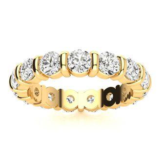 14 Karat Yellow Gold 3 Carat Bar Set Diamond Eternity Band, G-H SI3, Ring Sizes 4 to 9 1/2