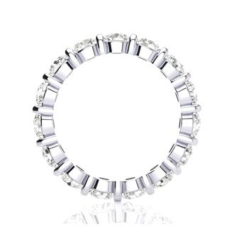 3ct Rounded Bar Set Diamond Eternity Band in 18k WG, H-I | SI2-I1, 4-9.5