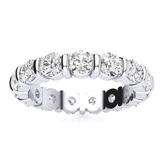 14 Karat White Gold 3 Carat Bar Set Diamond Eternity Band, I-J I1-I2, Ring Sizes 4 to 9 1/2