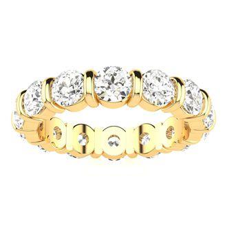 18 Karat Yellow Gold 4 Carat Bar Set Diamond Eternity Band, G-H SI1-SI2, Ring Sizes 4 to 9 1/2