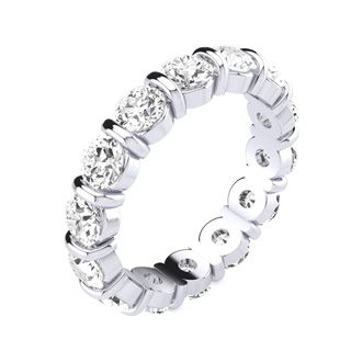 4ct Rounded Bar Set Diamond Eternity Band in 14k WG, H-I | SI1-SI2, 4-9.5