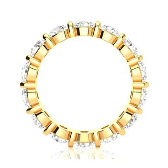 14 Karat Yellow Gold 4 Carat Bar Set Diamond Eternity Band, G-H SI3, Ring Sizes 4 to 9 1/2